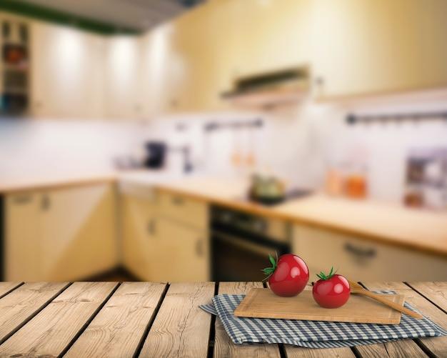 Renderowania 3d drewniany blat z pomidorem i deską do krojenia na tle szafki kuchennej