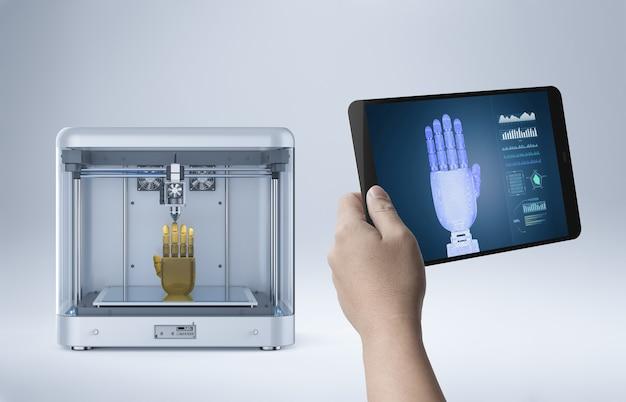 Renderowania 3d drukarka 3d drukuj robota ręka