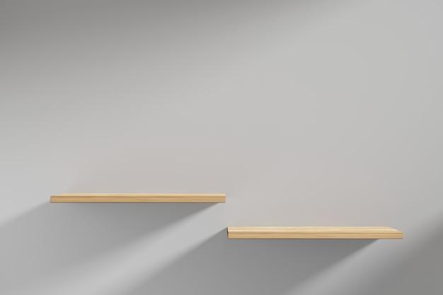 Renderowania 3d dubble pływające drewniane półki na ścianie.