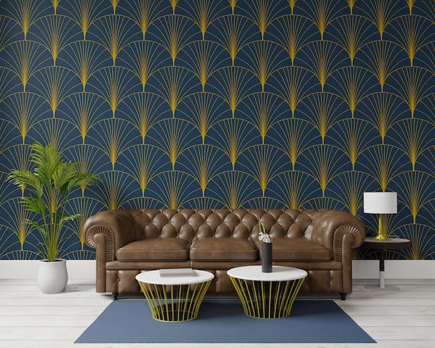 Renderowania 3d duży salon. projekt wnętrz, styl art deco, duża brązowa sofa, ciemnozielona ściana na makiety i miejsca do kopiowania