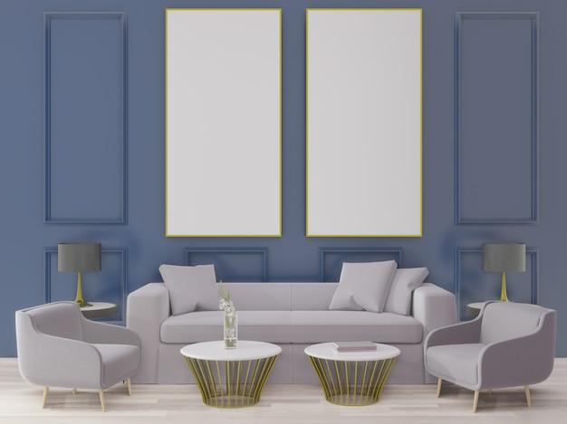 Renderowania 3d duży salon. projekt wnętrz, w stylu art deco, niebieska ściana