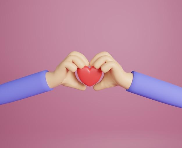 Renderowania 3d dwie ręce z czerwoną miłością