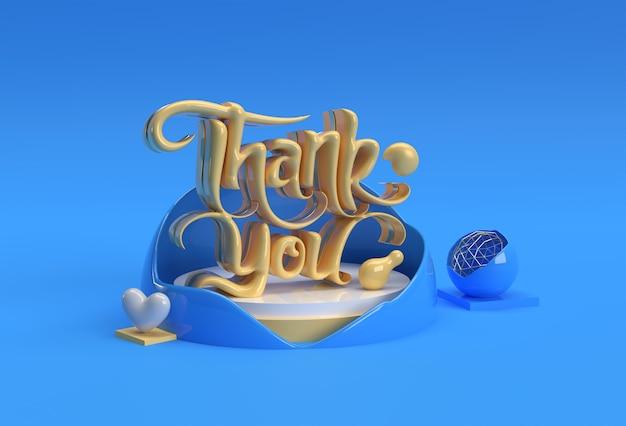 Renderowania 3d dziękuję napis typograficzne 3d plakat ulotki ilustracja projektu.