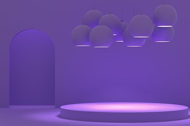 Renderowania 3d, fioletowe okrągłe podium