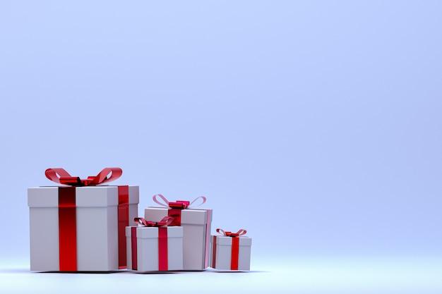 Renderowania 3d, fioletowe tło kolorowe realistyczne pudełko z kolorową kokardką na pustej przestrzeni