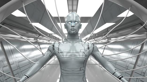 Renderowania 3d. futurystyczna scena i humanoidalna postać