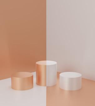 Renderowania 3d geometryczne tło abstrakcyjne sceny ze złotymi i białymi scenami podium w tle. luksusowa minimalistyczna makieta.