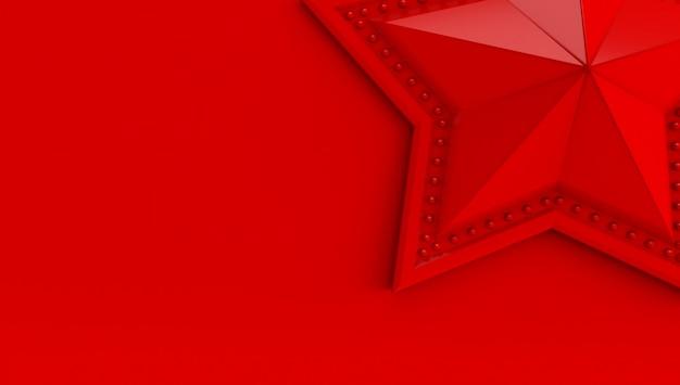 Renderowania 3d gwiazdy na białym tle na czerwonym tle.