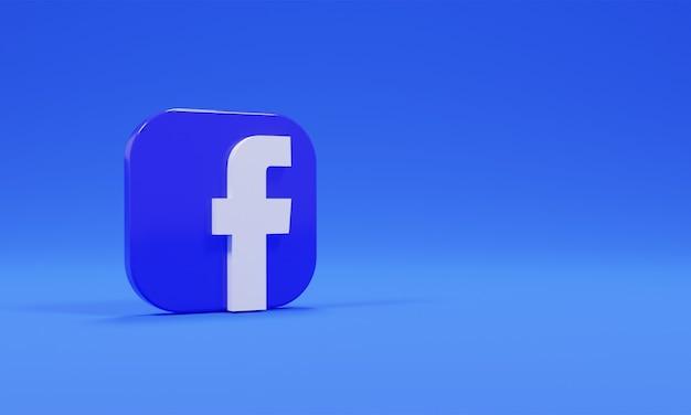 Renderowania 3d ikona logo facebook realistyczne