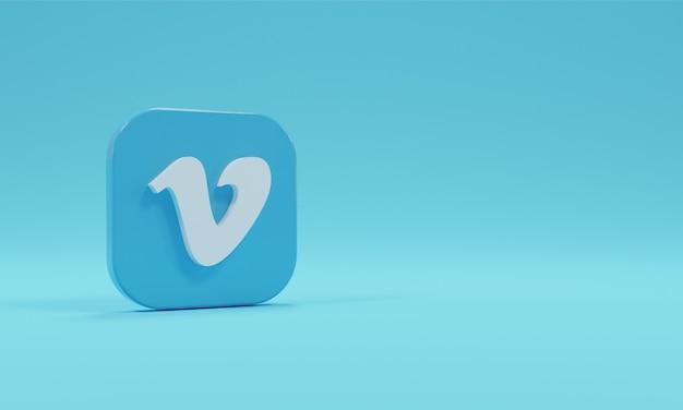 Renderowania 3d ikona logo vimeo realistyczne