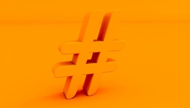Renderowania 3d ikony hashtag na kolorowym tle.