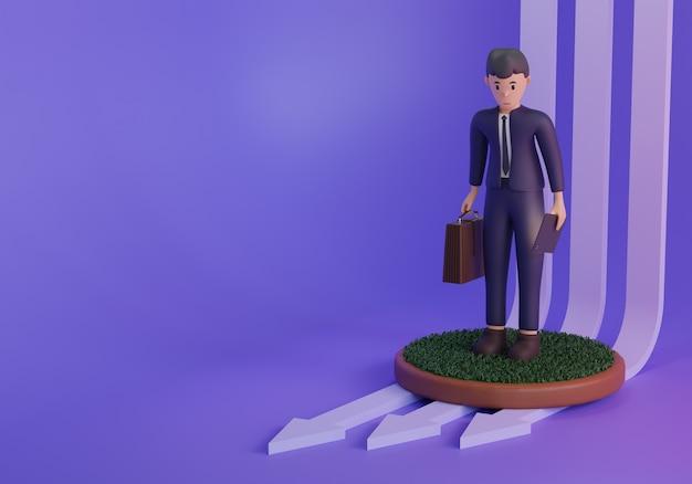 Renderowania 3d ilustracja biznesmen siadając na fioletowym tle ze strzałkami