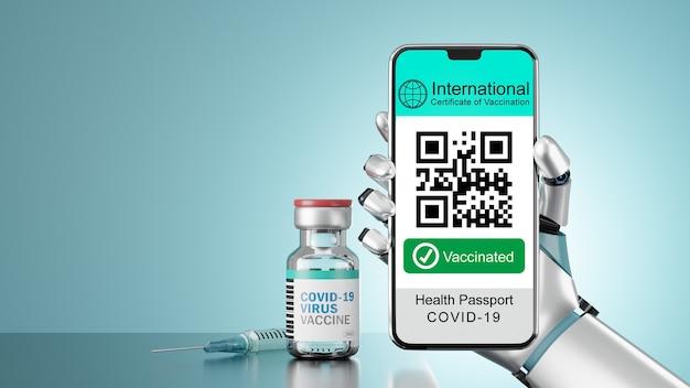 Renderowania 3d ilustracja smartfona mobilnego z zaszczepionym ekranem trzymaj ręką robota i butelkę szczepionki w jasnoniebieskim ekranie.