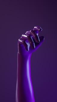 Renderowania 3d ilustracji dłoni błyszczący błyszczący materiał.
