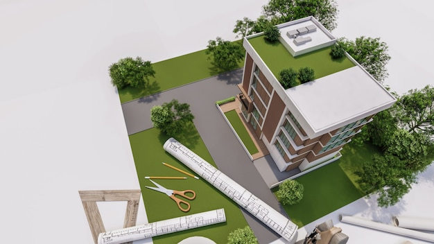 Renderowania 3d ilustracji modelu domu