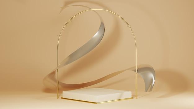 Renderowania 3d jasnobrązowego kwadratowego podium ze złotą podstawą do wyświetlania produktów na jasnobrązowym tle pokoju. makieta produktu pokazowego.