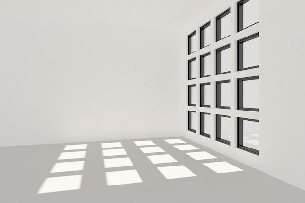 Renderowania 3d jasnych promieni słonecznych w pustym pokoju