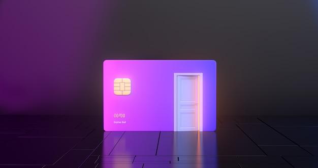 Renderowania 3d karta kredytowa i białe drzwi.