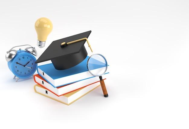 Renderowania 3d kasztana, szkło powiększające żarówka z książkami realistyczne kształty 3d. koncepcja edukacji online.
