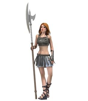 Renderowania 3d kobiecej postaci wojownika