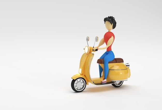 Renderowania 3d kobieta riding motor scooter widok z boku na białym tle.