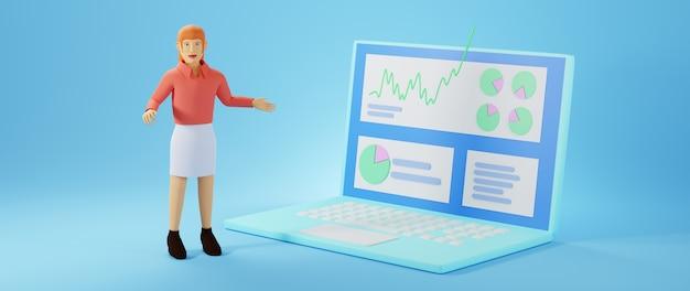 Renderowania 3d kobiety biznesu i notebooka. biznes online i e-commerce.