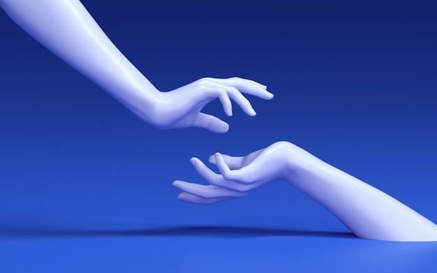 Renderowania 3d kobiety dotykając rąk.