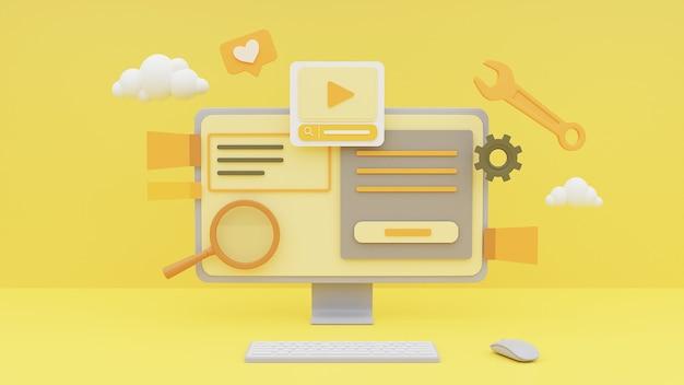 Renderowania 3d komputera pokazującego koncepcję zarządzania treścią multimediów na żółtym tle.