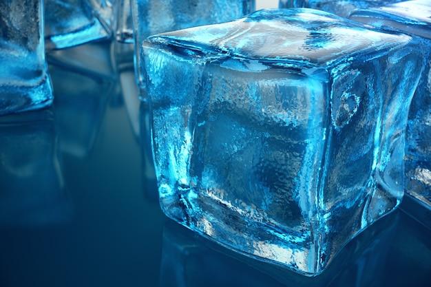 Renderowania 3d kostki lodu na niebieskim odcieniu tła. kostka z mrożoną wodą