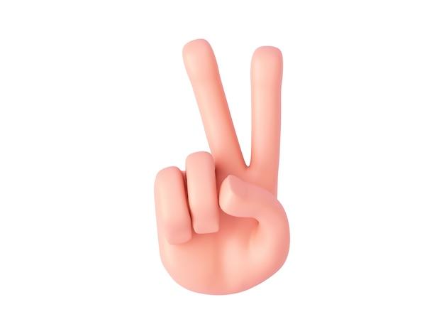 Renderowania 3d, kreskówka ręka pokazuje dwa palce lub znak pokoju. gest liczenia palców
