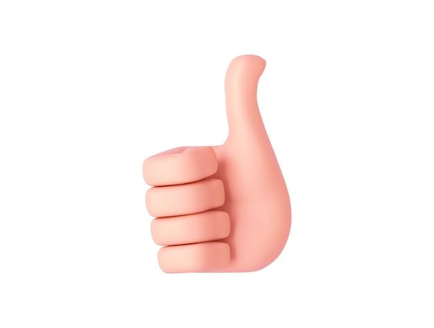 Renderowania 3d, kreskówka ręka pokazuje jak znak. gest ręki. na białym tle