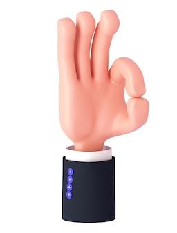 Renderowania 3d, kreskówka ręka z rękawem pokazuje znak ok. gest ręki