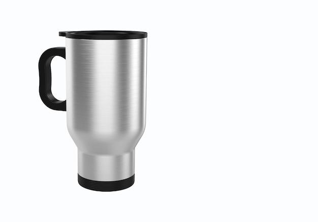 Renderowania 3d kubek podróży ze stali nierdzewnej do kawy lub herbaty na białym tle. nadaje się do projektu elementu makiety.
