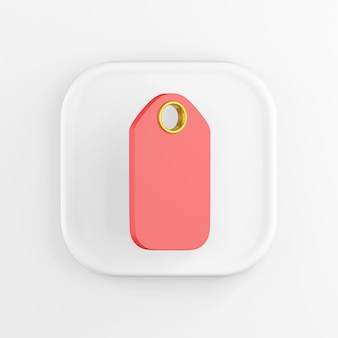 Renderowania 3d kwadratowa biała ikona przycisk klucz powiesić tag na białym tle.