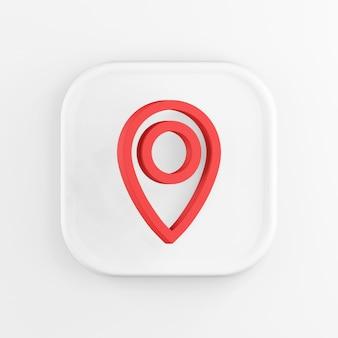 Renderowania 3d kwadratowa biała ikona przycisku klucz czerwony symbol lokalizacji na białym tle.