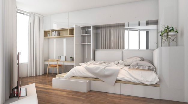 Renderowania 3d ładne światło dzienne w dobrej sypialni projektowania