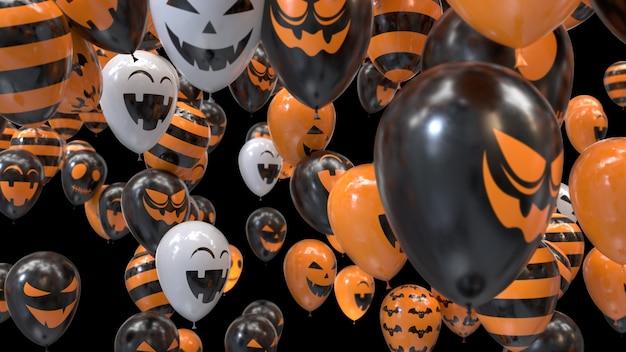Renderowania 3d latające balony halloween na czarno
