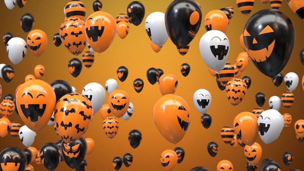 Renderowania 3d latające balony halloween na pomarańczowo