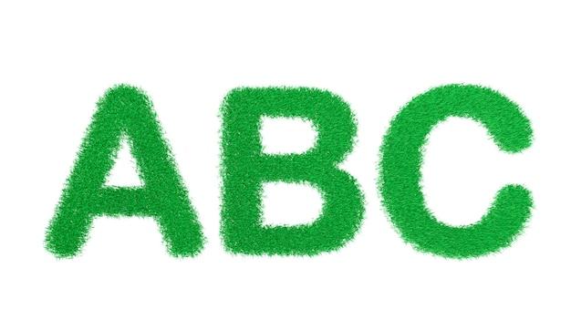 Renderowania 3d Litery Abc Alfabetu Zielonej Trawy Na Białym Tle Premium Zdjęcia