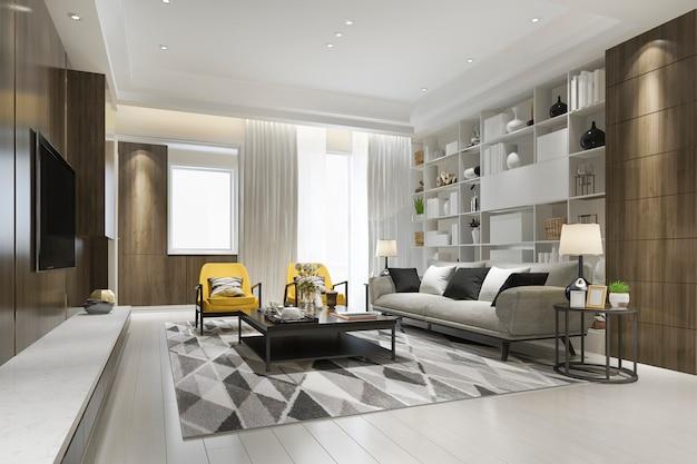Renderowania 3d loft luksusowy salon z żółtym fotelem z półką na książki