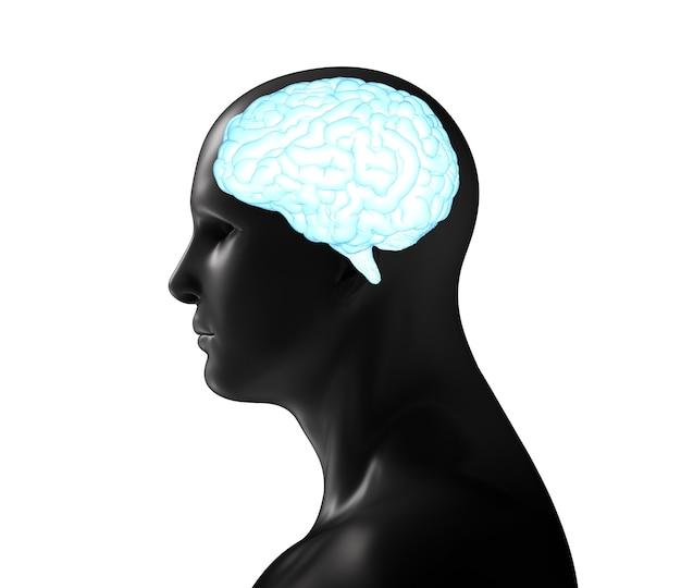 Renderowania 3d ludzki model z niebieskim błyszczącym mózgiem na białym tle