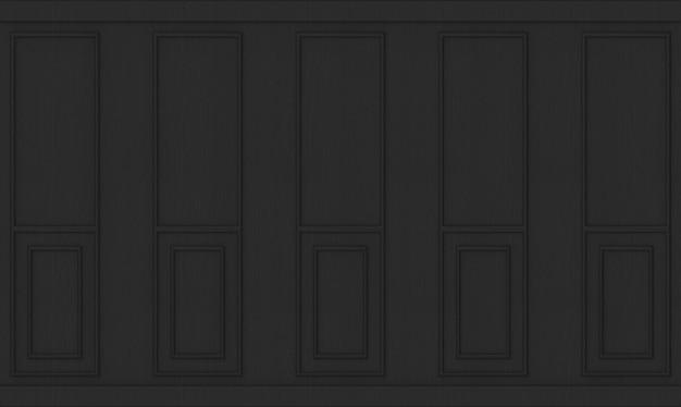 Renderowania 3d. luksusowe czarne klasyczne drewniane ściany tło