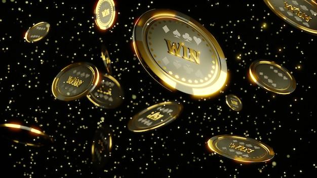 Renderowania 3d. luksusowe kasyno chip złota i diamentu renderowania 3d obrazu. spadają żetony pokerowe