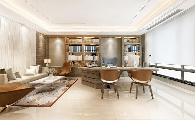Renderowania 3d luksusowe spotkanie biznesowe i pokój pracy w biurze wykonawczym