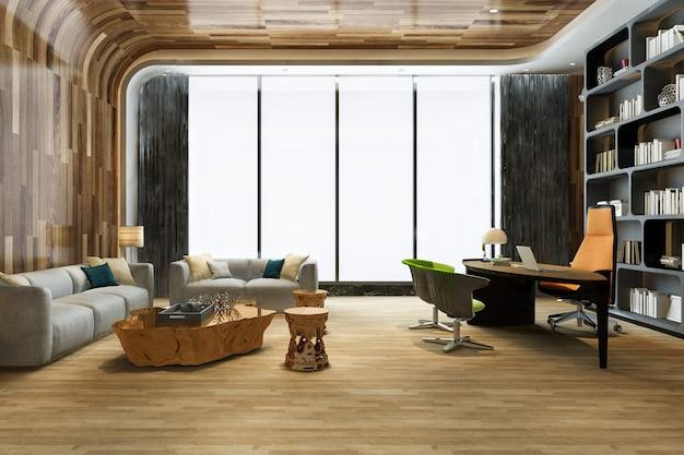 Renderowania 3d luksusowe spotkanie biznesowe i sala pracy w biurze wykonawczym