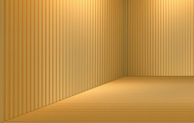Renderowania 3d. luksusowe złote pręty panelowe wzór tekstury ściany pokoju w rogu.