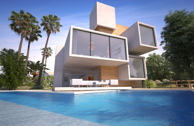 Renderowania 3d luksusowej willi z drewna i kamienia z basenem i egzotycznym ogrodem