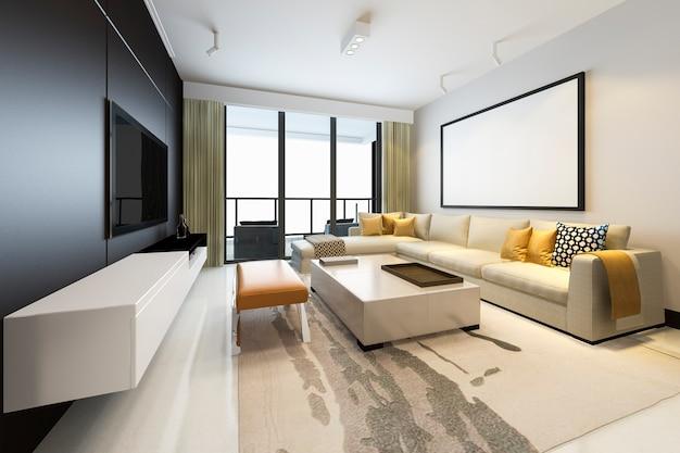 Renderowania 3d luksusowy i nowoczesny salon z sofą z tkaniny z ramą makiety