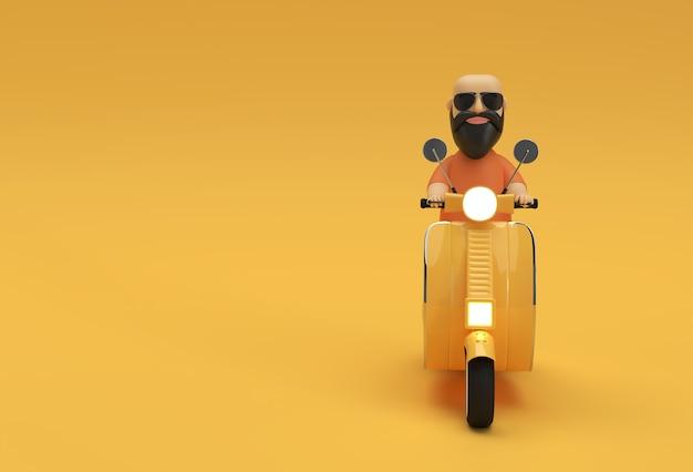 Renderowania 3d łysy mężczyzna jazda skuterem widok z boku na żółtym tle.