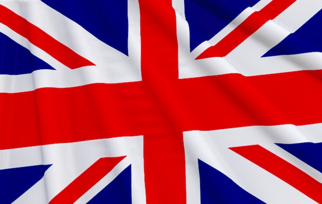 Renderowania 3d. macha flagą narodową wielkiej brytanii.